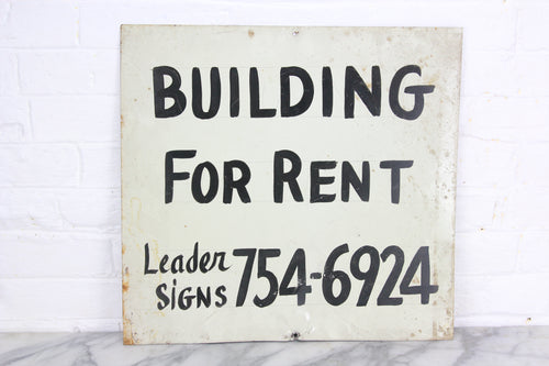 Building for Rent, Handpainted Metal Sign by Leader Signs, Worcester, MA - 18x17