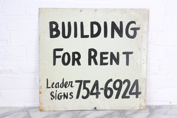 Building for Rent, Handpainted Metal Sign by Leader Signs, Worcester, MA - 18x17""