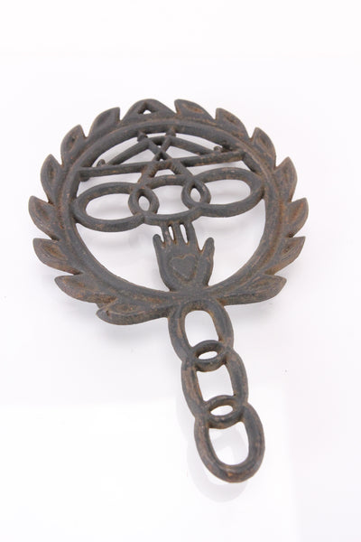 Antique Odd Fellows Three Links Cast Iron Footed Trivet by Wilton