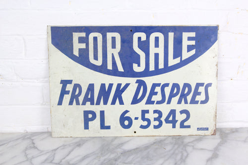 For Sale, Handpainted Metal Sign by Leader Signs, Worcester, MA - 18x12