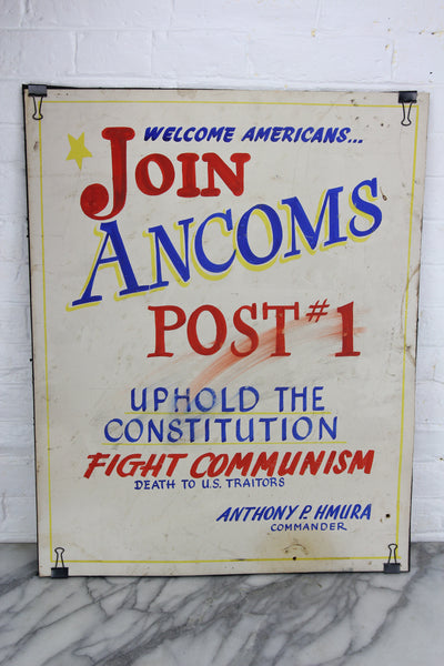 Fight Communism, Handpainted Political Poster by Leader Signs, Worcester, MA - 28x22""
