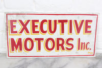Executive Motors, Inc., Handpainted Metal Sign by Leader Signs, Worcester, MA - 11x6""