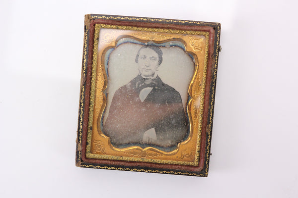 Daguerreotype Photograph of a Young Man With Bowtie in Half Case (1/6th Plate)