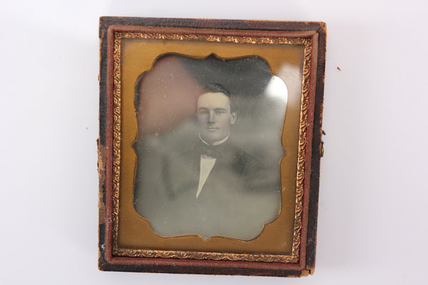 Daguerreotype Photograph of a Handsome Young Man in Half Case (1/6th Plate)