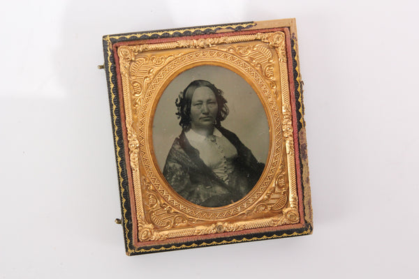 Ambrotype Photograph of a Middle-Aged Woman in Half Case (1/6th Plate)