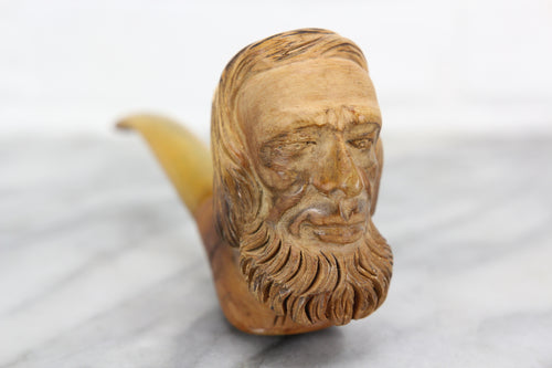 Antique Meerschaum Pipe with Carved Man's Face in Case