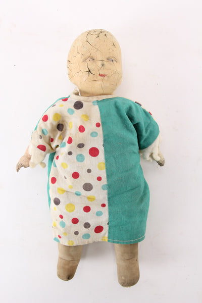 Antique Composition Doll with Unique Clown Suit Dress - 12""