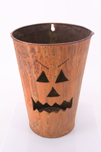 Halloween Jack-O-Lantern Pumpkin Painted Tin Bucket