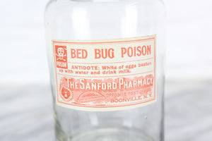The Sanford Pharmacy Bed Bug Poison Glass Bottle