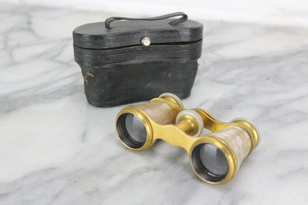 Le Fils Paris Mother of Pearl and Brass Opera Glasses with Case