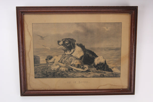 "Antique ""He is Saved"" Framed Currier and Ives Dog Lithograph (2 of 2 in Series)"