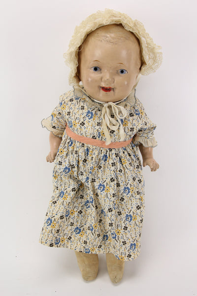 Very Happy Antique Composition Posable Doll with Bonnet, 20""