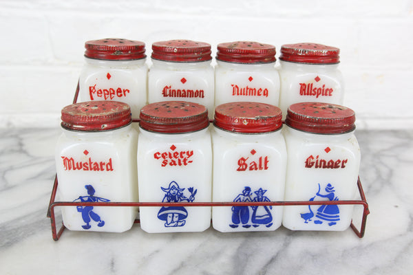 Eight Piece Milk Glass Spice Jar Set with Rack, Hand-Painted