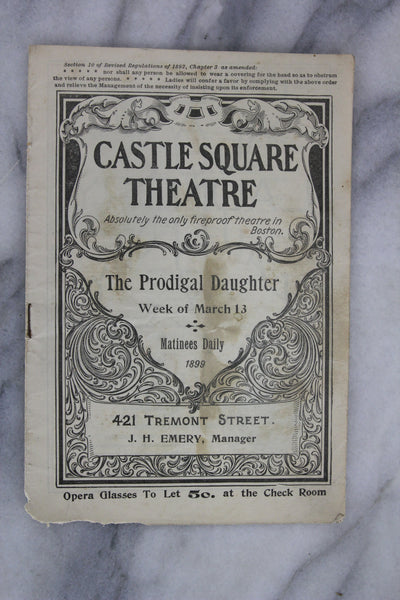 Antique Playbill from Castle Square Theatre, Boston, Week of March 13, 1899