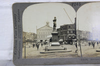 Monument of Samuel Adams and Old Faneuil Hall, Boston, Mass. - Keystone Stereo Card