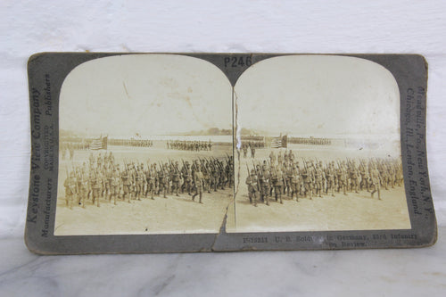 U.S. Soldiers in Germany, 23rd Infantry on Review - Keystone Stereo Card