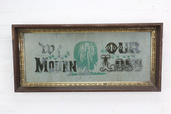 "Antique Mourning Needlepoint Embroidery, ""We Mourn Our Loss"" - 23.5"" x 11"""