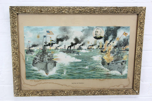 Battle of Manila Bay Lithograph Print, Spanish-American War by F. Fetherston - 19.5