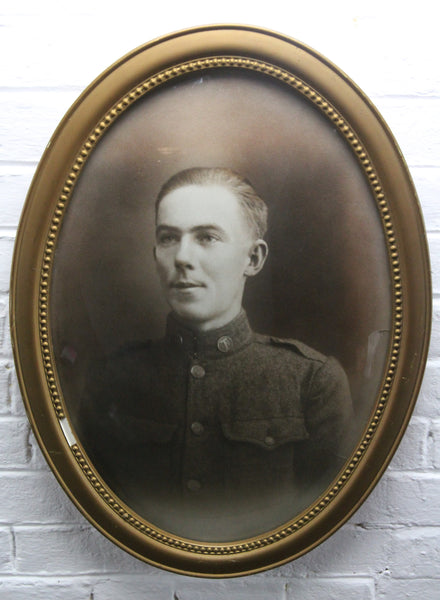 "Portrait Photograph of Soldier Earl C. Wall in Bubble Frame, France, January 1, 1919 - 16"" x 22"""