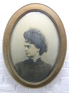 "Portrait Photograph of a Beautiful Victorian Woman in Bubble Frame - 16.5"" x 22.5"""