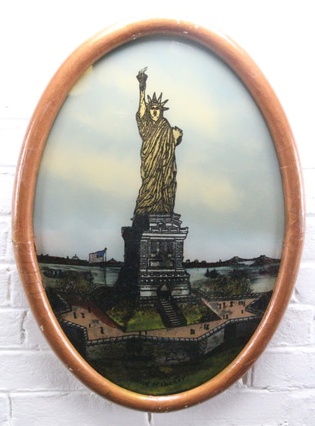 "Folk Art Reverse Painting of the Statue of Liberty in Bubble Frame - 15"" x 21"""