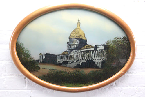 Folk Art Reverse Painting of the United States Capitol in Bubble Frame - 21