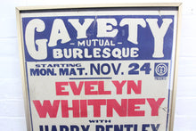 "Load image into Gallery viewer, Gayety Mutual Burlesque 1920s Screen Printed Poster - 18.25"" x 23.25"""