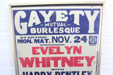 "Gayety Mutual Burlesque 1920s Screen Printed Poster - 18.25"" x 23.25"""