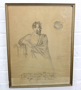 "Antique French Pencil Drawing of a Young Woman with a Lock of Her Blonde Hair - 13"" x 16.5"""
