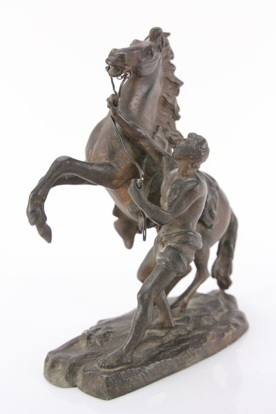 Antique Bronzed Metal Clock Topper Statue of Bucking Horse and Native Man
