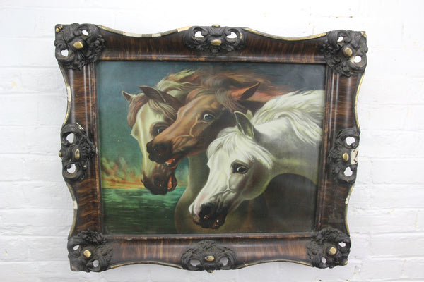 "J.F. Herring's Pharaoh's Horses Antique Color Lithograph in Wood and Gesso Frame - 25"" x 21"""