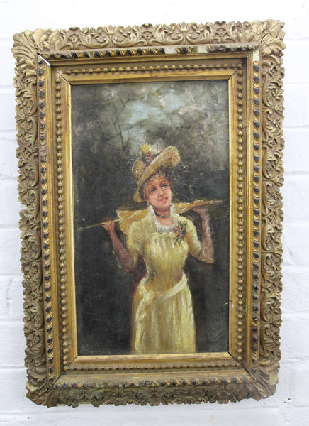 "19th Century Oil Painting on Canvas of a Woman in Ornate Wood Frame - 13"" x 19"""