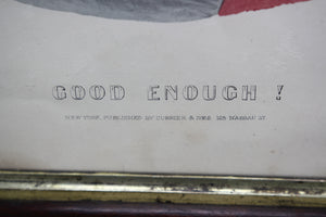 "Currier & Ives ""Good Enough!"" Antique Lithograph Color Print in Frame - 16.25"" x 18.25"""
