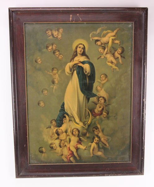 Framed Color Print of the Ascension of the Virgin Mary with Cherubs - 18 x 23""