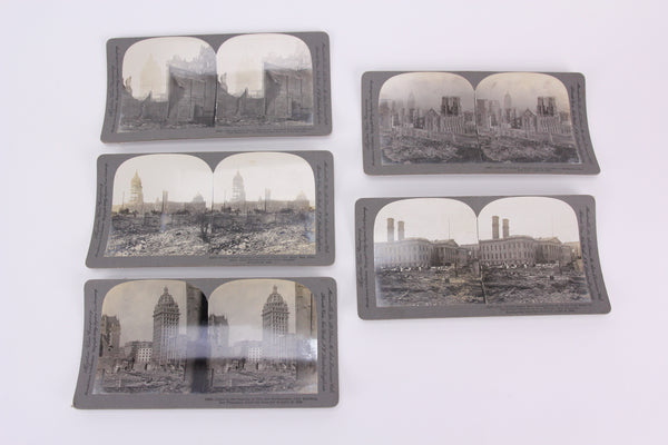 Five Keystone Stereo Cards of the Aftermath of the 1906 San Francisco Earthquake