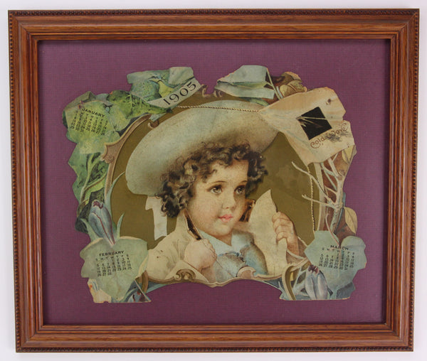 Antique Die Cut 1905 Advertising Calendar for January, February, and March