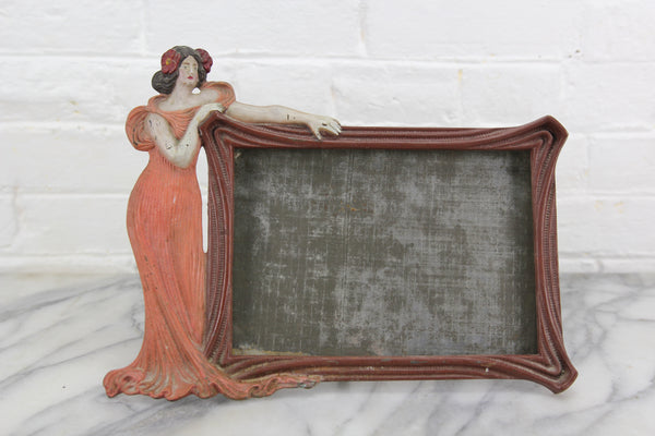 Art Deco Hand-Painted Figural Woman Metal Frame, 1920s