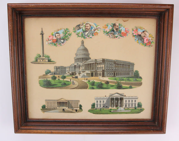 Antique Framed Washington DC Landmark Die Cuts and Presidential Valentines