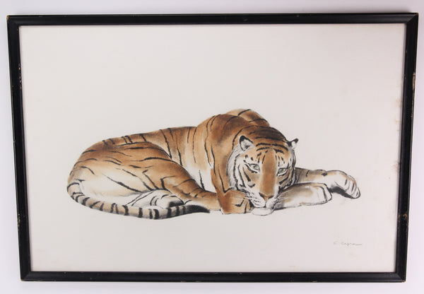 Jean-Camille Cipra Signed Resting Tiger Genuine French Etching - 31 x 21.5""