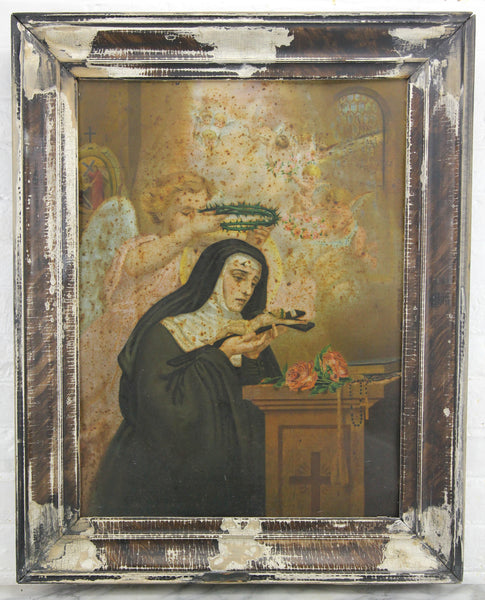 "Antique St. Rita Tin Lithograph in Frame, Circa 1900 - 23"" x 29"