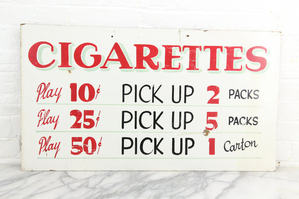 "Hand-Painted Cigarette Prize Sign from Fascination Parlor, Nantasket Beach, Hull, Massachusetts - 28.5"" x 16.5"""