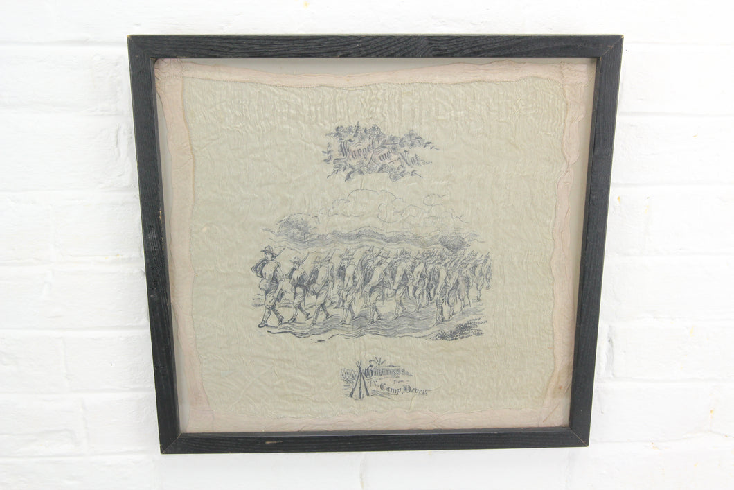 Framed Illustrated Handkerchief from Camp Devens, Massachusetts,