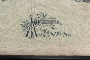 "Framed Illustrated Handkerchief from Camp Devens, Massachusetts, ""Forget Me Not"""