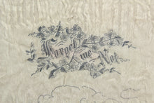 "Load image into Gallery viewer, Framed Illustrated Handkerchief from Camp Devens, Massachusetts, ""Forget Me Not"""