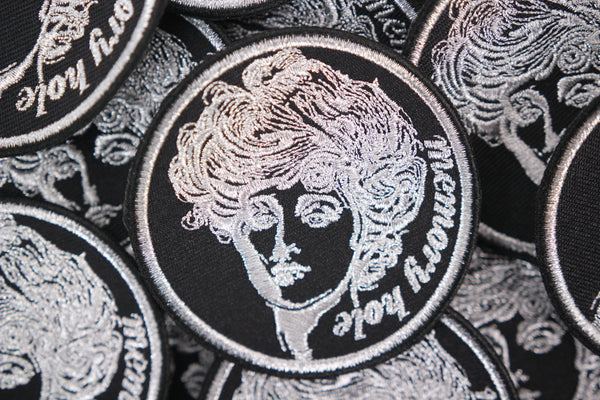 "Gibson Girl 3"" Metallic Silver Embroidered Memory Hole Patch"