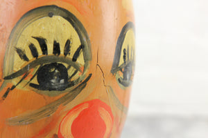 Hand-Painted Clown Face Antique Wooden Bowling Pin