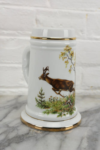 Risqué Lithophane Porcelain Stein with a Naked Lady and Galloping Deer