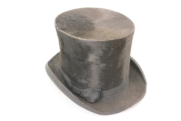 "Antique Lamson & Hubbard Black Beaver Skin Stove Pipe Top Hat, 6"" Tall"