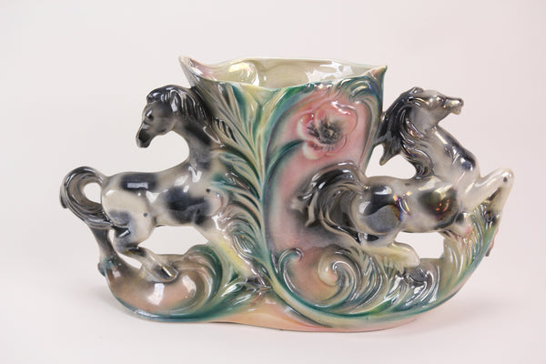 Vintage Lusterware Colorful Double Horse Planter Vase, Made in Italy