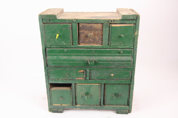 Antique Folk Art Multi Drawer Cabinet Made Out of Old Crates in Green Paint